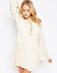 Kiss The Sky Instant Karma Dress With Embroidered Detail Cream