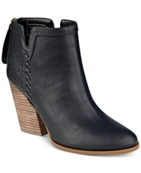 Tommy Hilfiger Lyra Western Booties Women's Shoes Black Leather