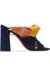 Chloe Nellie Bow Embellished Suede Mules Midnight Blue