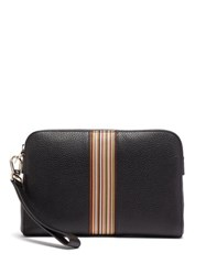 Paul Smith Signature Stripe Grained Leather Pouch Bag Black
