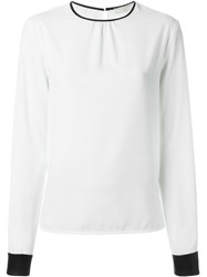 Amen Contrast Cuff Blouse White