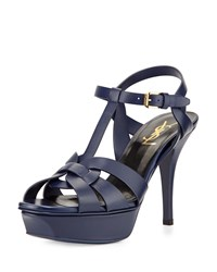 Tribute Leather Mid Heel Sandal Sea Blue Saint Laurent