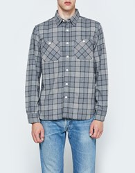 Beams Plus Work Flannel Check Long Sleeve Shirt Grey