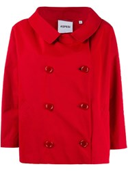 Aspesi Short Double Breasted Coat Red