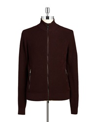 Michael Kors Knit Zip Up Sweater Red