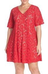 Plus Size Women's Gabby Skye Short Sleeve Lace Trapeze Dress
