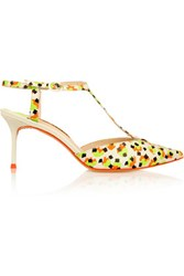 Sophia Webster Ida Printed Neon Leather Pumps White