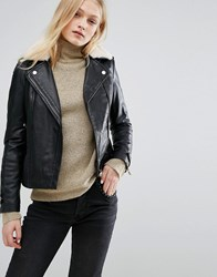 Mango Borg Collar Leather Biker Jacket Black