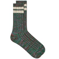 Anonymous Ism 2 Line Mix Crew Sock Green