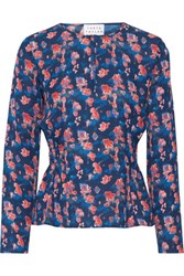 Tanya Taylor Heather Printed Silk Chiffon Top Storm Blue