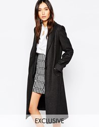 Helene Berman Charcoal Herringbone Long College Coat Grey