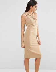 Forever Unique Aisha Midi Dress With Twisted Strap Detail Tan Beige