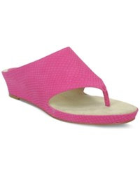 Tahari Mindy Wedge Thong Sandals Women's Shoes Raspberry Snake