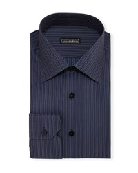 Stefano Ricci Striped Long Sleeve Dress Shirt Navy Men's