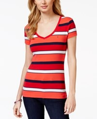 Tommy Hilfiger Short Sleeve V Neck Tee Multi Stripe