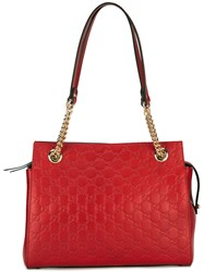 Gucci Gg Signature Tote Bag Women Leather One Size Red