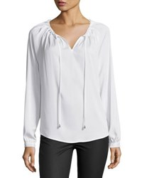 Tahari By Arthur S. Levine Self Tie Neck Crepe Blouse Ivory