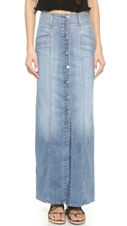 7 For All Mankind Long Button Front Skirt Washed Genuine Blue