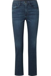 3X1 Stevie Cropped High Rise Straight Leg Jeans Dark Denim