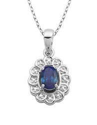 Lord And Taylor September Birthstone Sterling Silver Necklace Sapphire