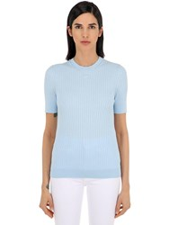 Courreges Logo Ribbed Cotton Knit Top Light Blue