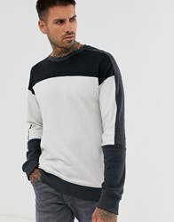 Only And Sons Sweatshirt With Block Panel Detail Black