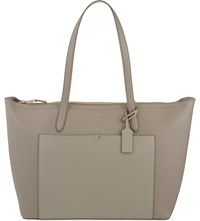 Smythson Panama East West Leather Tote Dove Grey