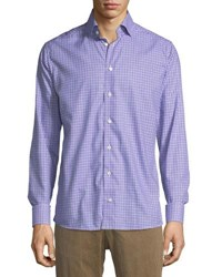 Eton Cotton Check Dress Shirt Purple