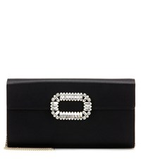 Roger Vivier Evening Envelope Satin Shoulder Bag Black