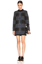 Each X Other Tartan Sweater Dress In Checkered And Plaid Blue