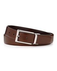 Ermenegildo Zegna Matte Reversible Belt Brown Cognac