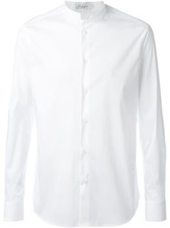 Paolo Pecora Band Collar Shirt White