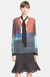 Clover Canyon 'Textured Ink' Tie Neck Blouse Multi