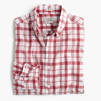 J.Crew Tall Secret Wash Shirt In Heather Poplin Red And White Plaid