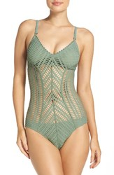 Robin Piccone Women's 'Sophia' Cutout One Piece Swimsuit Sea Green