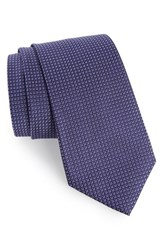 Calibrate Men's Grid Woven Silk Tie Purple