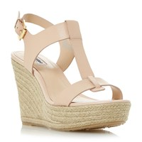 Dune Kelby T Bar Espadrille Wedge Sandals Nude