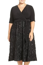 Alex Evenings Plus Size Women's Tea Length Jersey And Rosette Lace Dress