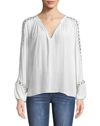 Ramy Brook Sera V Neck Long Sleeve Blouse With Grommet Trim White