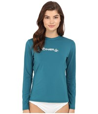 O'neill Basic Skins Long Sleeve Rash Tee Deep Teal Women's Swimwear Green