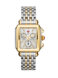 Michele Deco Diamond Mother Of Pearl 18K Goldplated And Stainless Steel Chronograph Bracelet Watch Silver Gold