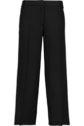 Tory Burch Marlie Cropped Mid Rise Stretch Wool Wide Leg Pants Black