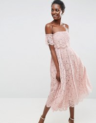 Asos Off The Shoulder Lace Prom Midi Dress Nude Beige