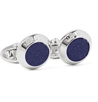 Mulberry Silver Tone Blue Goldstone Cufflinks Silver