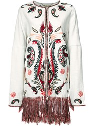 Rachel Zoe Embroidered Coat White