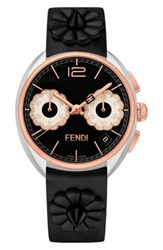 Fendi Women's Momento Floral Chronograph Leather Strap Watch 40Mm Black Silver Rose Gold