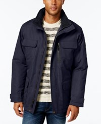 London Fog Men's Military Puffer Coat Navy
