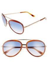 Tom Ford Women's Andy 58Mm Aviator Sunglasses Shiny Rose Gold Light Havana Shiny Rose Gold Light Havana