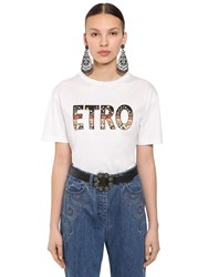 Etro Over Logo Printed Cotton Jersey T Shirt White