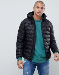 Gym King Hooded Puffer Jacket In Black With Bubble Quilting